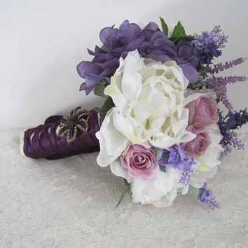 Purple Lavender and Ivory Bride Bridesmaid Bouquet Peonies Roses and Hydrangea French Knotted Bridesmaids Wedding Flowers Ready To Ship
