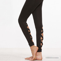Womens Sport Casual Hollow Out Leggings Slim Fit Pants Black