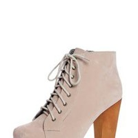Perry Nude Suedette Lace Up Platform Shoe Boot