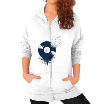 Vinyl Record Zip Hoodie (on woman) Shirt
