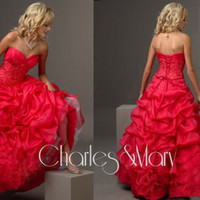 Red V-neck A-line Evening/Formal/Ball gown/Party/Prom dress/SZ 6-8-10-12-14