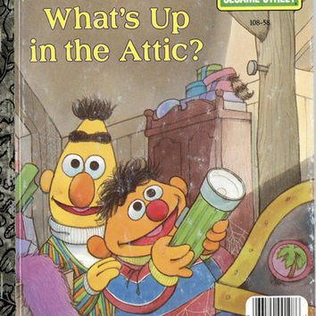 "Vintage Little Golden Book - 1987 - Sesame Street ""What's Up in the Attic""  Bert and Ernie  Illustrator Tom Cooke,Author Liza Alexander"