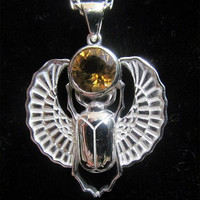 Sterling Silver Scarab Pendant with Citrine Gem