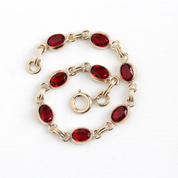Vintage 1/20 12K Yellow Gold Filled Simulated Ruby Bracelet - 1960s Retro Oval 8 Faceted Red Glass Stone July Birthstone Dainty Jewelry