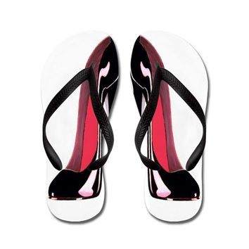 PAIR BLACK STILETTO SHOES FLIP FLOPS