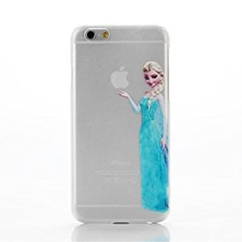 iPhone 6 Eating/ Holding Apple logo Transparent Princess Snow White Frozen Elsa Little Mermaid Ariel Holding Logo Clear Transparent Case for Apple iPhone 6 Xmas Gift (02#)