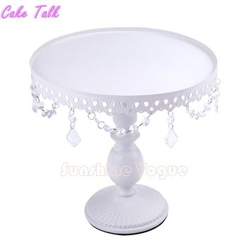 White cake stand with crystal pendant cupcake stand 1 piece wedding party decoration supplier cake display  tools decoration