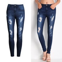 Hot Sale Women's Fashion Rinsed Denim Slim Ripped Holes Pants Jeans [11597531919]