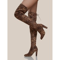 Cheetah Print Thigh High Boots TAN