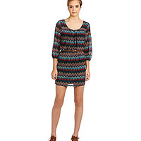 Jodi Kristopher Long Sleeve Zig-Zag Print Dress - Teal/Coral