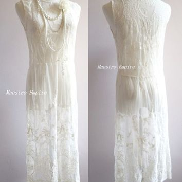 White Art Deco 1920s Vintage Flapper Sheer Lace Gatsby Elegant Victorian Dress