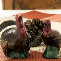 Goebel Tom Turkey and Hen Salt and Pepper Shakers, Turkey Shakers, Thanksgiving Table, Vintage Kitchen