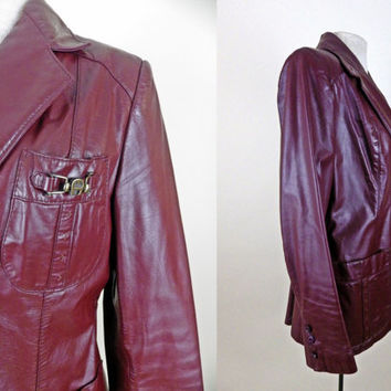 Vintage 1970s Burgundy Leather Jacket // Super Cool with Pockets // Great Details