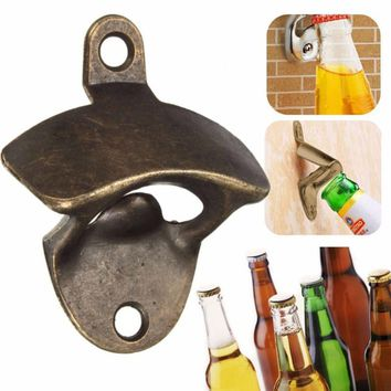 Chic Vintage Antique Bronze Wall Mounted Opener Wine Beer Soda Glass Cap Bottle Opener Kitchen Bar Tools Gift Without Screw