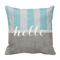 shabby chic throw pillow gray and teal with hello