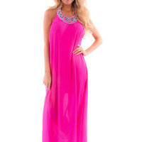 Fuchsia Solid Embroidered Neckline Maxi Dress