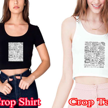 "You Me At Six Quote All time lowcrop shirt and crop tank sexy shirt women s m l xl 2xl ""NS"""