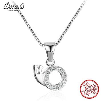 Dorado full drill circle snails pendants necklace 925 sterling silver chain necklace for ladies female jewelry