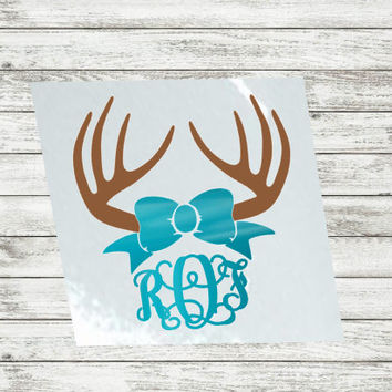 Antler & Bow Decal, Sticker for Yeti Cup, Glitter Bow Monogram