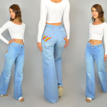 RAINBOW POCKET vintage 70s high waist wide leg denim JEANS, extra small-small