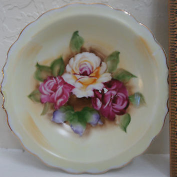 Vintage Hand Painted Bowl W/ ROSES, Made JAPAN