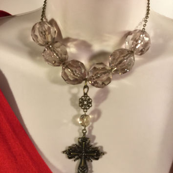 Bronze And Clear Cross Necklace/Free Shipping