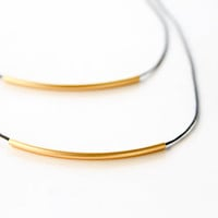 Layer Necklace Set Layered Minimalist Necklace Matte Gold colored and black double necklace / layers / Christmas Gift for Her