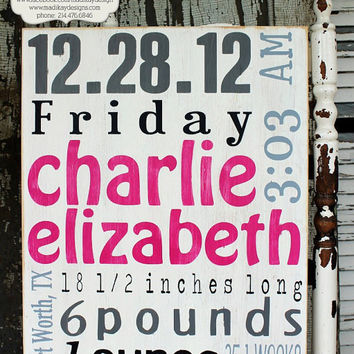 Baby Birth Announcement Plaque - Personalized Baby Name Wood Sign, Nursery Sign 16x20 Charlie