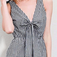 Black V Neck Plaid With Bow Tie Playsuits