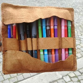 Leather Artist Roll, Leather Pencil Roll, Pencil Case, Leather pencil Case, Leather Tool Roll, leather pencil roll up, soft leather,