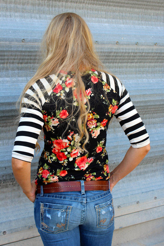 Black Floral With Cream And Black Striped From Gogreenstyle