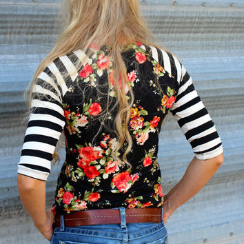 Black Floral with Cream and Black Striped Knit Baseball t shirt /  Raglan Sleeve Shirt From GreenStyle