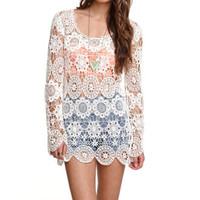 Black Poppy All Over Crochet Tunic Dress at PacSun.com