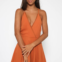 Wasted Time Playsuit - Dusty Orange