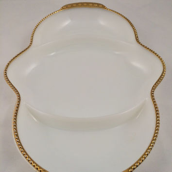 Fireking goldrimmed milkglass, tri-divided milkglass, Anchor Hocking relish dish, divided relish dish