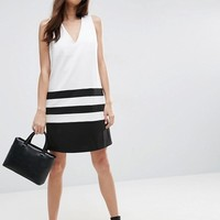 ASOS Color Block Shift Dress with Deep V at asos.com