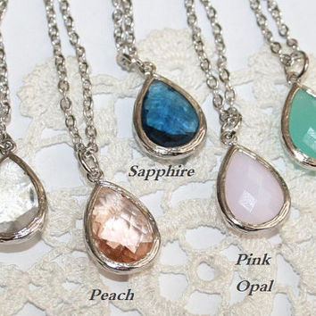 Teardrop Silver chain Necklace, Bezel set dainty modern Necklace, Crystal, Peach, Sapphire, Pink, Mint - choose color, Bridesmaids favor