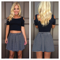 Cold Shoulder Crop Top - BLACK