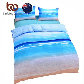 BeddingOutlet New Beach And Ocean Bedding Set Hot 3D Print Duvet CoverSet Cheap Vivid Bedclothes Blue Quilt Cover Set AU SIZE