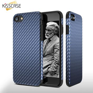 KISSCASE Fashion Carbon Fiber Soft Case For iPhone 6 6s 7 Plus 5 5s SE Leather Skin Shell Cover For iPhone 7 6 6s Plus 5 5s SE