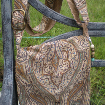 Brown and teal paisley fabric messenger bag with adjustable strap,vintage brass, and decorative fob