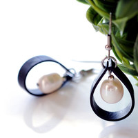 Rubber drop earrings handmade from recycled bicycle tire inner tube and white freshwater pearls , unique black and white dangle drop jewelry