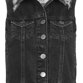 Black Distressed Denim Gilet | Missselfridge