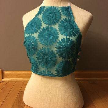 Halter Top- Teal Daisies, Flower Top Sheer Crop Top Pasties Hippie Rave Pole Dancing Festival