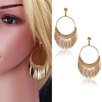 New Fashion Dangle Earrings Vintage Enthusiasm Style 18K Gold Plated Feather Pendant Classical Drop Earrings For Women Gifts
