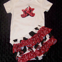 Cowgirl Bodysuit & Ruffle Butt Set / Outfit / Boots / Western / Rodeo / Cow/ Red Bandana/ Infant / Toddler / Baby / Custom Boutique Clothing