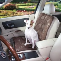 Guardian Gear Pawprint Single Car Seat Covers  -  Polyester Car Seat Covers for Dogs, Charcoal