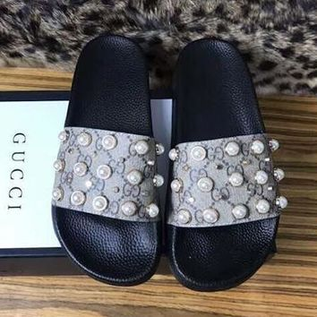 GUCCI Pearl Woman Men Fashion Causal Slipper Sandals Shoes