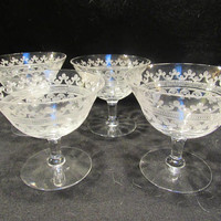 Etched Crystal Tall Sherbet, Champagne Coups, Barware, Set of 4   (1535)