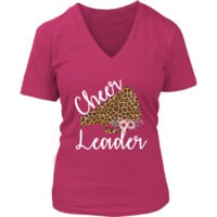 Cheerleader Shirts - Cheer Leader - Cheerleading Shirts - Womens V Neck Style - Sizes Available Up To 4 XL - 4 Colors